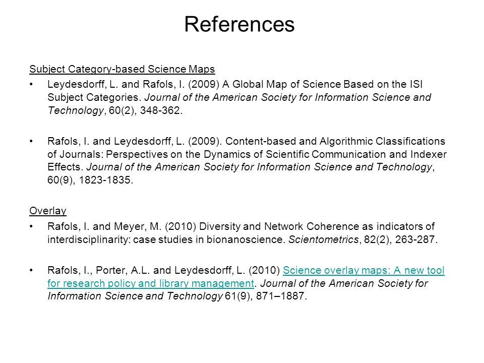 References Subject Category-based Science Maps
