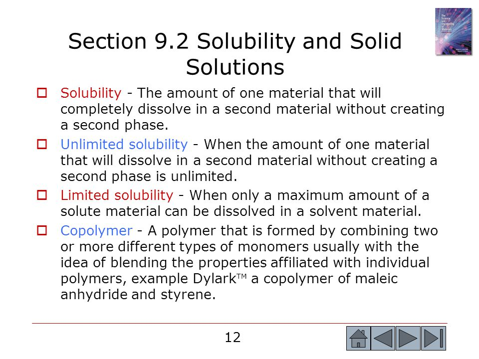 Section 9.2 Solubility and Solid Solutions
