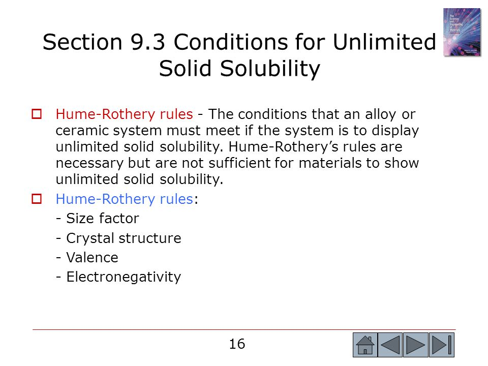 Section 9.3 Conditions for Unlimited Solid Solubility