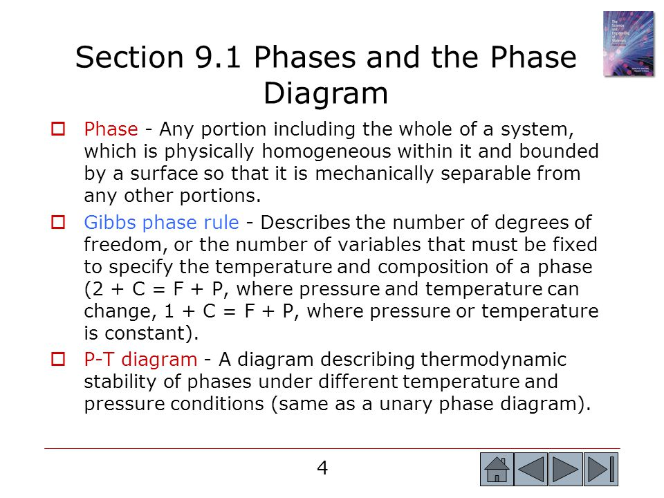 Section 9.1 Phases and the Phase Diagram
