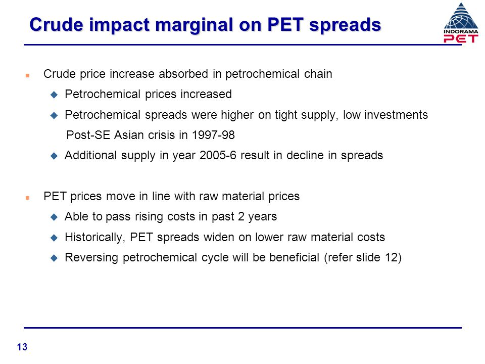 Crude impact marginal on PET spreads