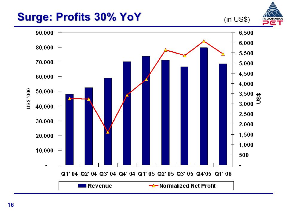 Surge: Profits 30% YoY (in US$) 16