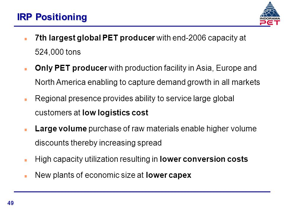 IRP Positioning 7th largest global PET producer with end-2006 capacity at 524,000 tons.