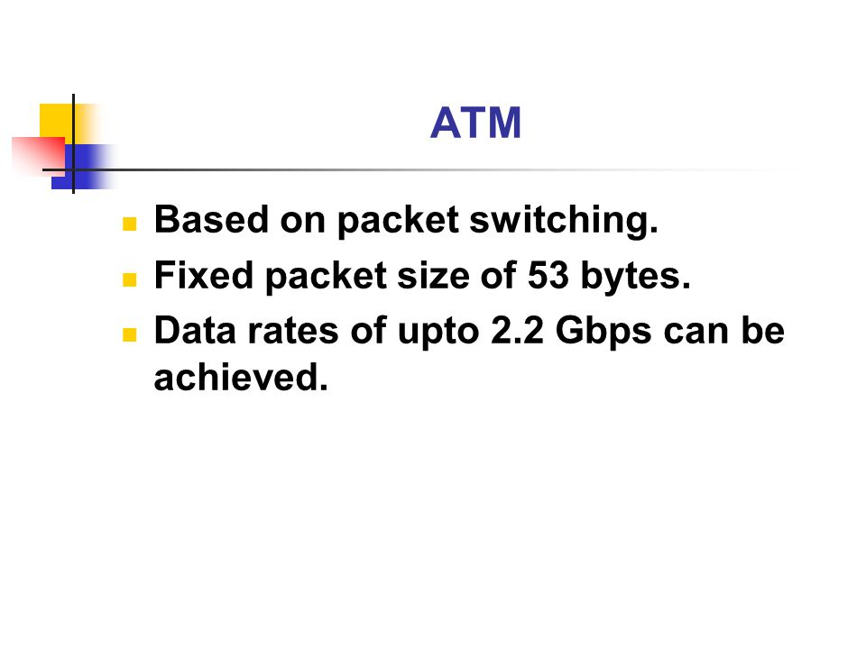 ATM Based on packet switching. Fixed packet size of 53 bytes.