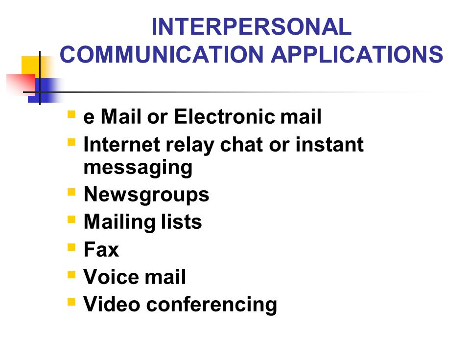 INTERPERSONAL COMMUNICATION APPLICATIONS