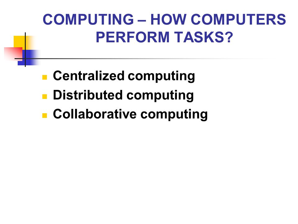 COMPUTING – HOW COMPUTERS PERFORM TASKS