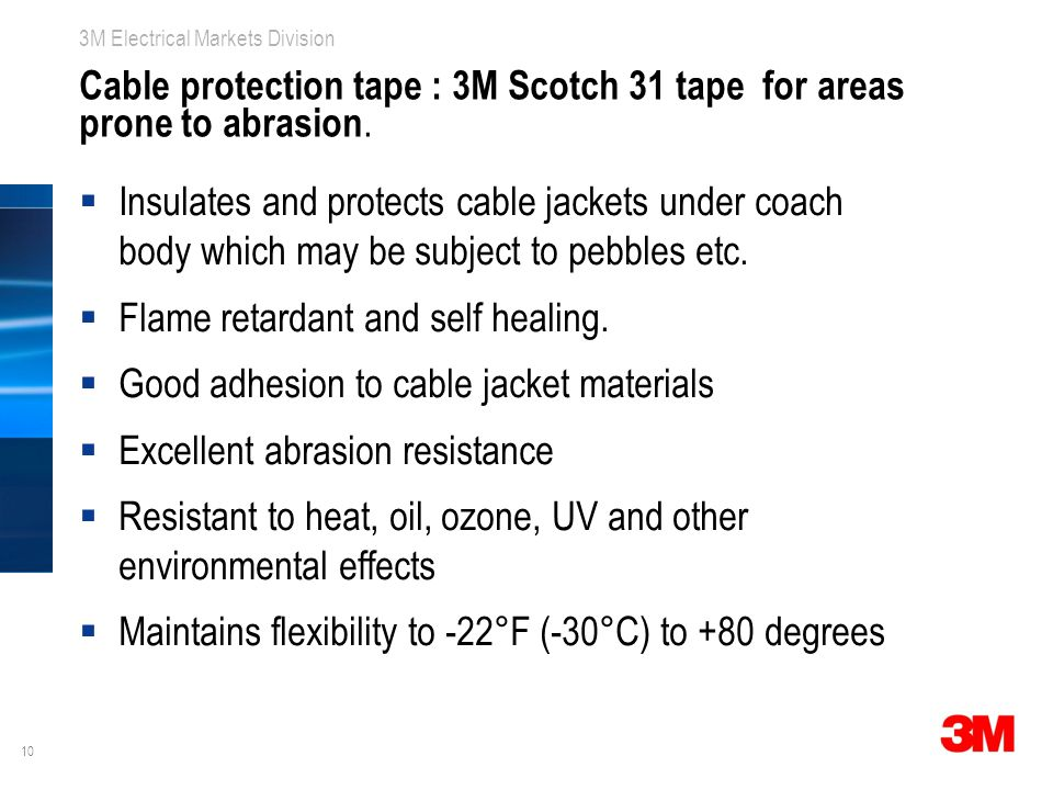 Cable protection tape : 3M Scotch 31 tape for areas prone to abrasion.
