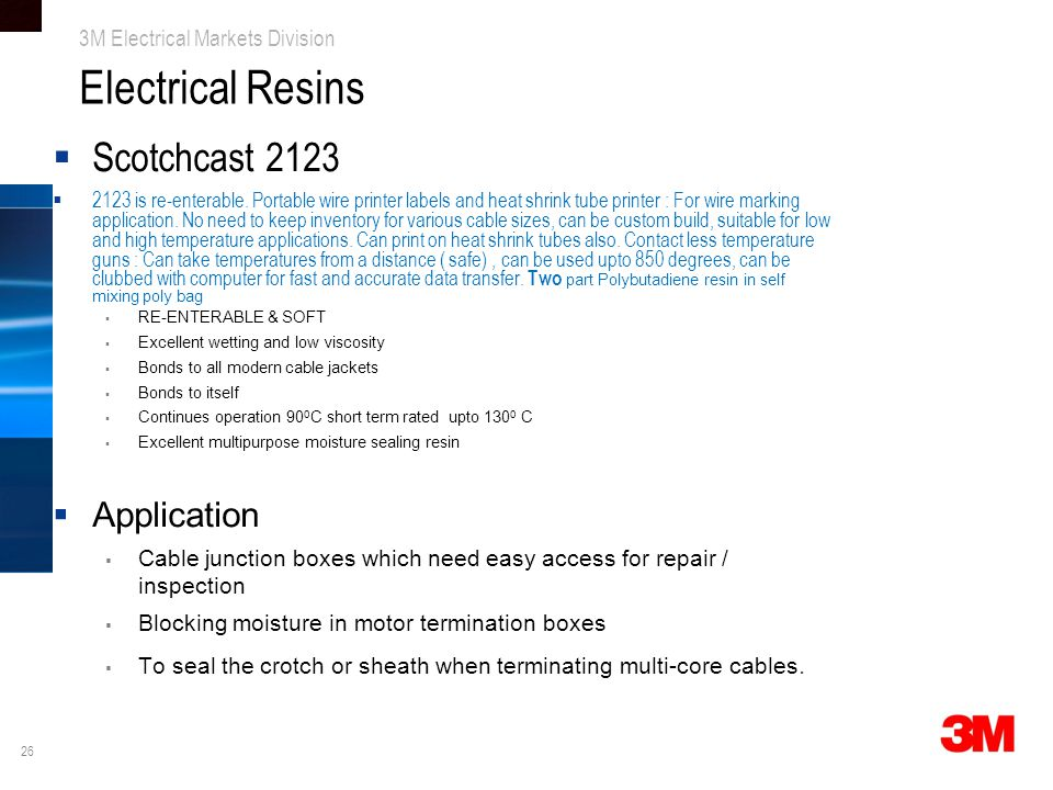 Electrical Resins Scotchcast 2123 Application
