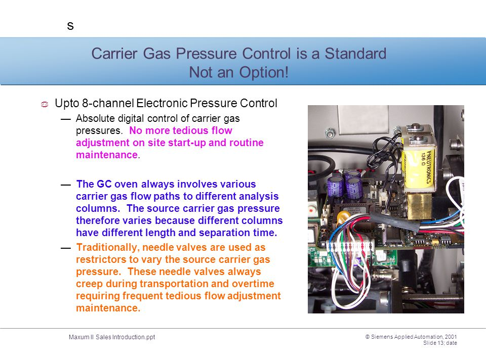 Carrier Gas Pressure Control is a Standard Not an Option!