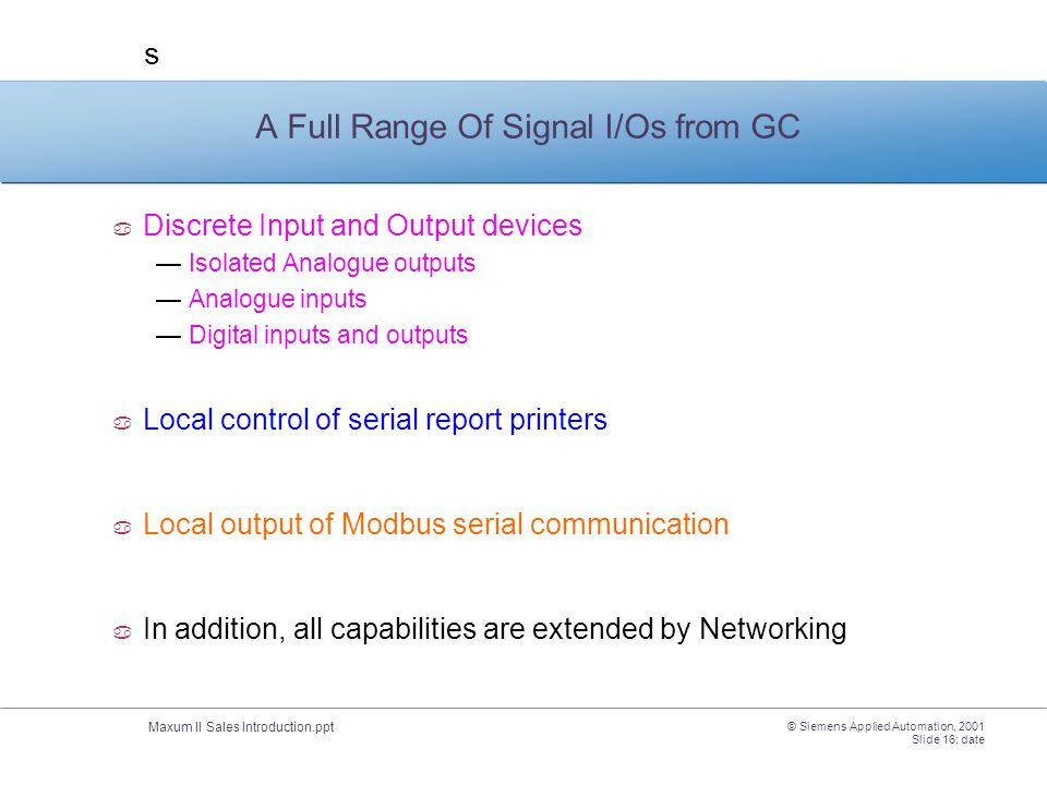 A Full Range Of Signal I/Os from GC