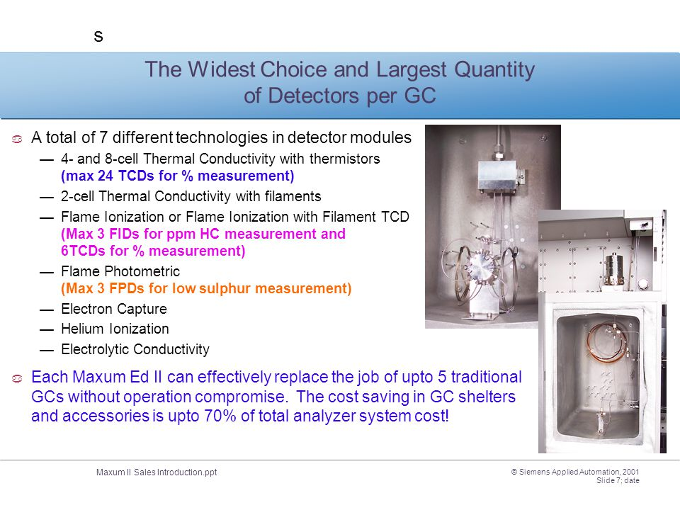 The Widest Choice and Largest Quantity of Detectors per GC