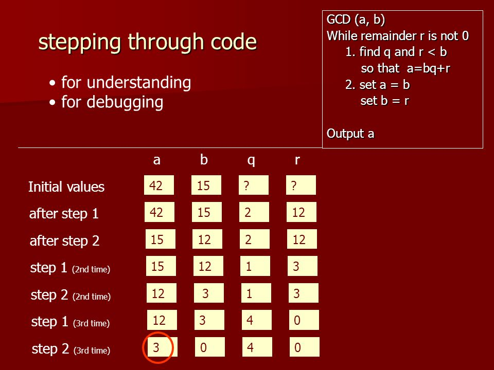 stepping through code for understanding for debugging a b q r