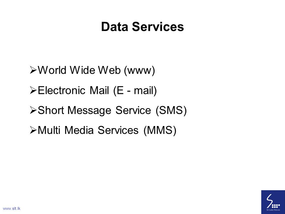 Data Services World Wide Web (www) Electronic Mail (E - mail)