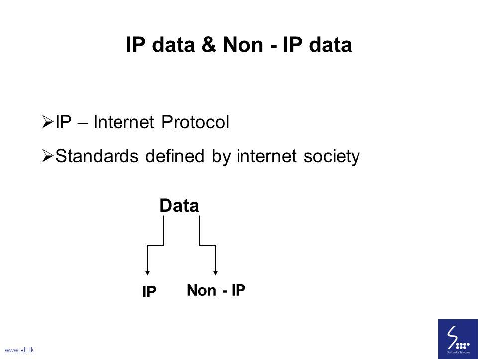IP data & Non - IP data IP – Internet Protocol