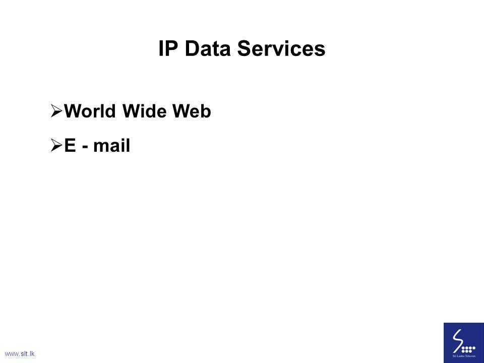 IP Data Services World Wide Web E - mail www.slt.lk