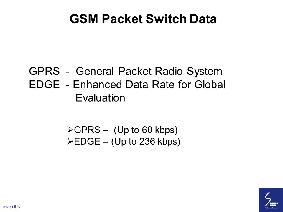 GSM Packet Switch Data GPRS - General Packet Radio System EDGE - Enhanced Data Rate for Global Evaluation.