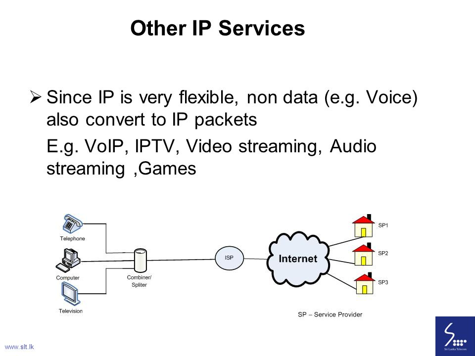 Other IP Services Since IP is very flexible, non data (e.g. Voice) also convert to IP packets.