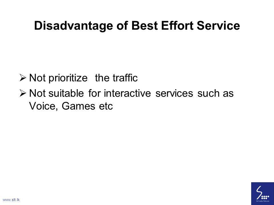Disadvantage of Best Effort Service