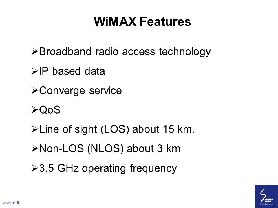 WiMAX Features Broadband radio access technology IP based data