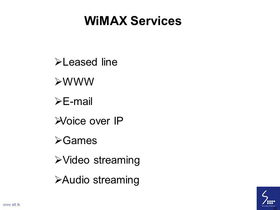 WiMAX Services Leased line WWW E-mail Voice over IP Games