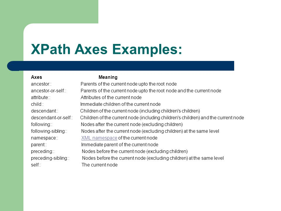 XPath Axes Examples: Axes Meaning