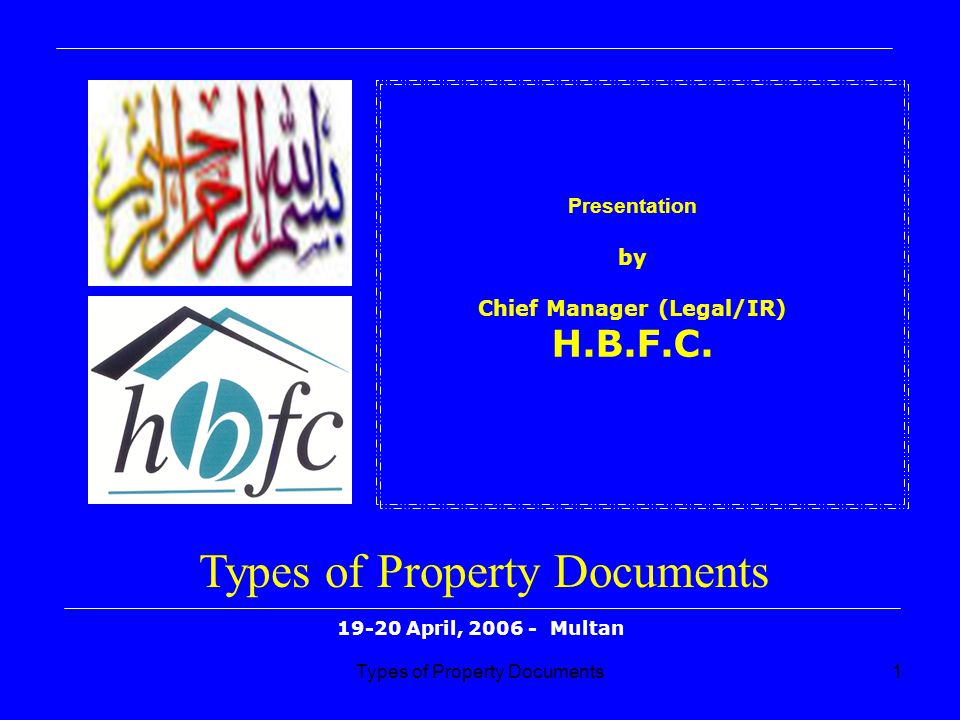 Presentation by Chief Manager (Legal/IR) H.B.F.C.