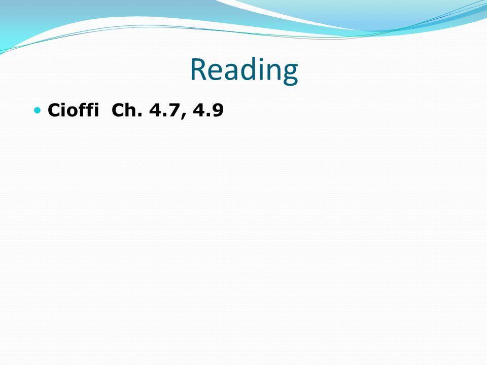 Reading Cioffi Ch. 4.7, 4.9