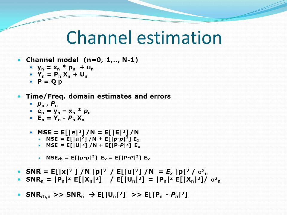 Channel estimation Channel model (n=0, 1,.., N-1)