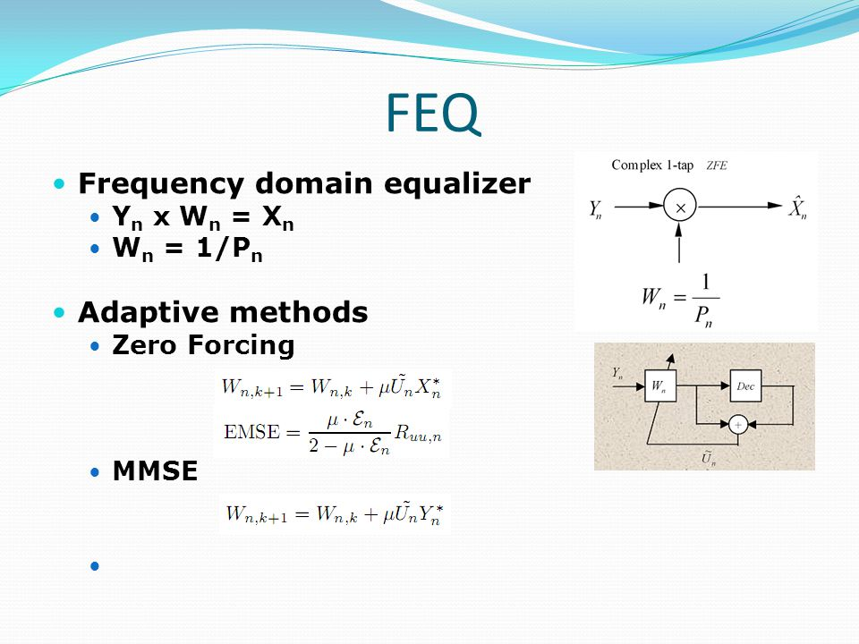 FEQ Frequency domain equalizer Adaptive methods Yn x Wn = Xn Wn = 1/Pn