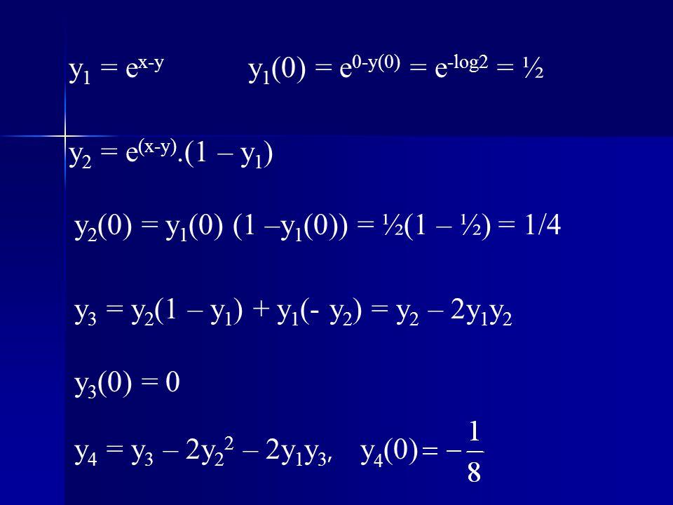 y1 = ex-y y1(0) = e0-y(0) = e-log2 = ½. y2 = e(x-y).(1 – y1) y2(0) = y1(0) (1 –y1(0)) = ½(1 – ½) = 1/4.