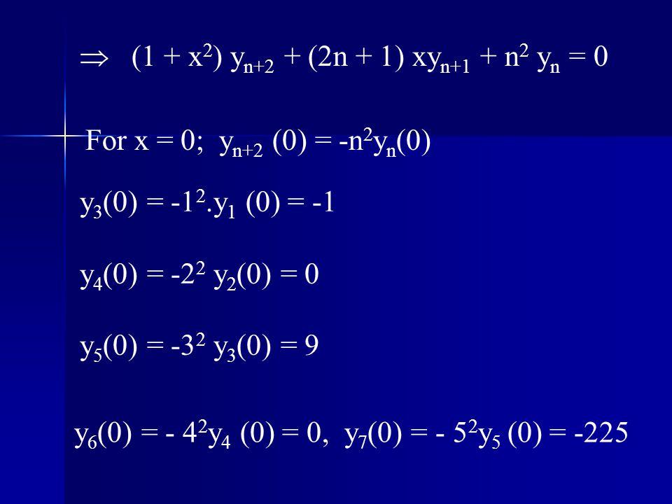  (1 + x2) yn+2 + (2n + 1) xyn+1 + n2 yn = 0