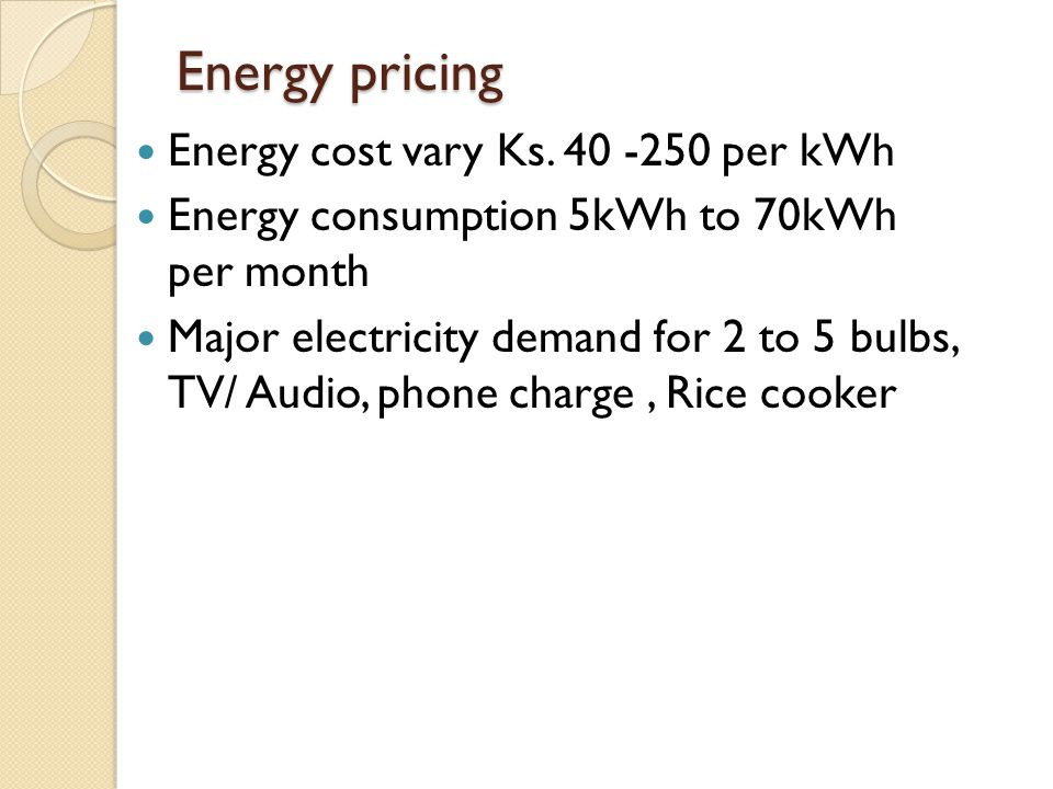 Energy pricing Energy cost vary Ks. 40 -250 per kWh