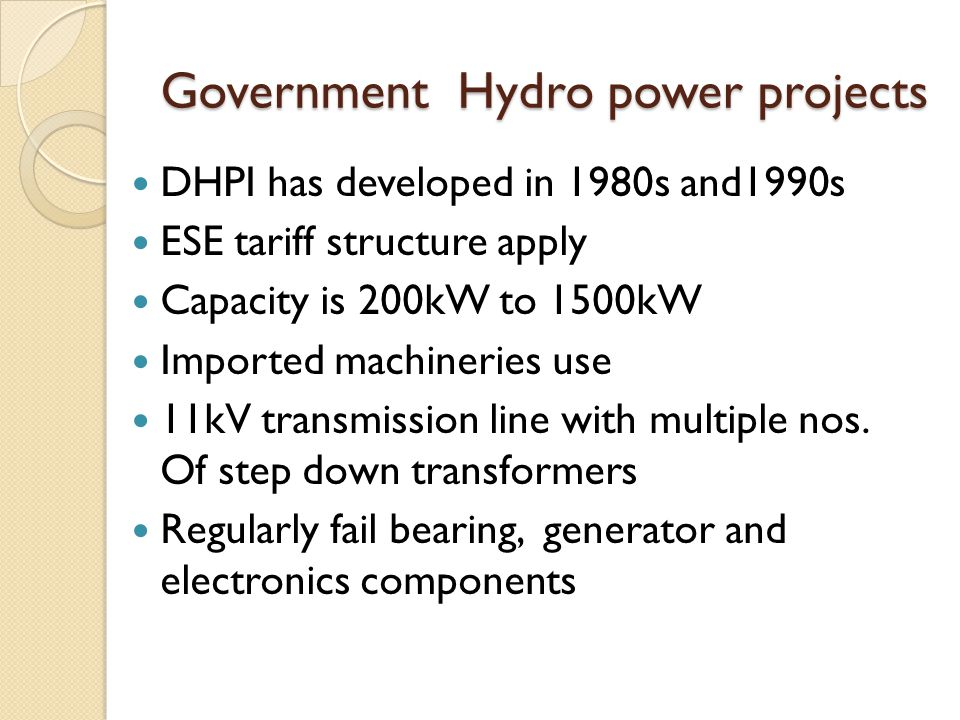 Government Hydro power projects