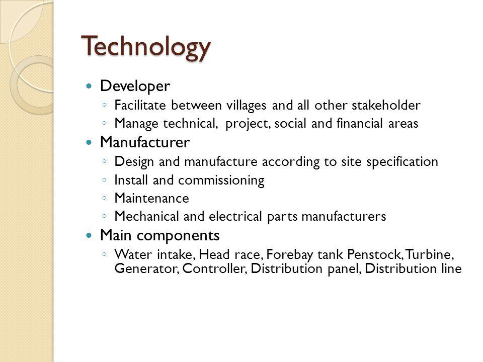 Technology Developer Manufacturer Main components