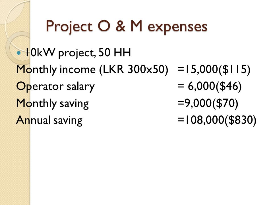 Project O & M expenses 10kW project, 50 HH
