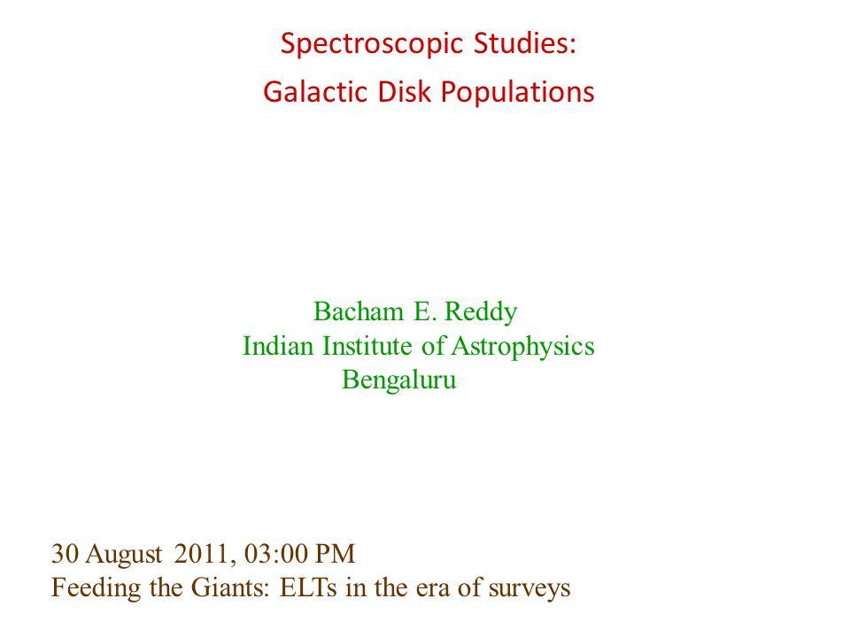 Spectroscopic Studies: Galactic Disk Populations
