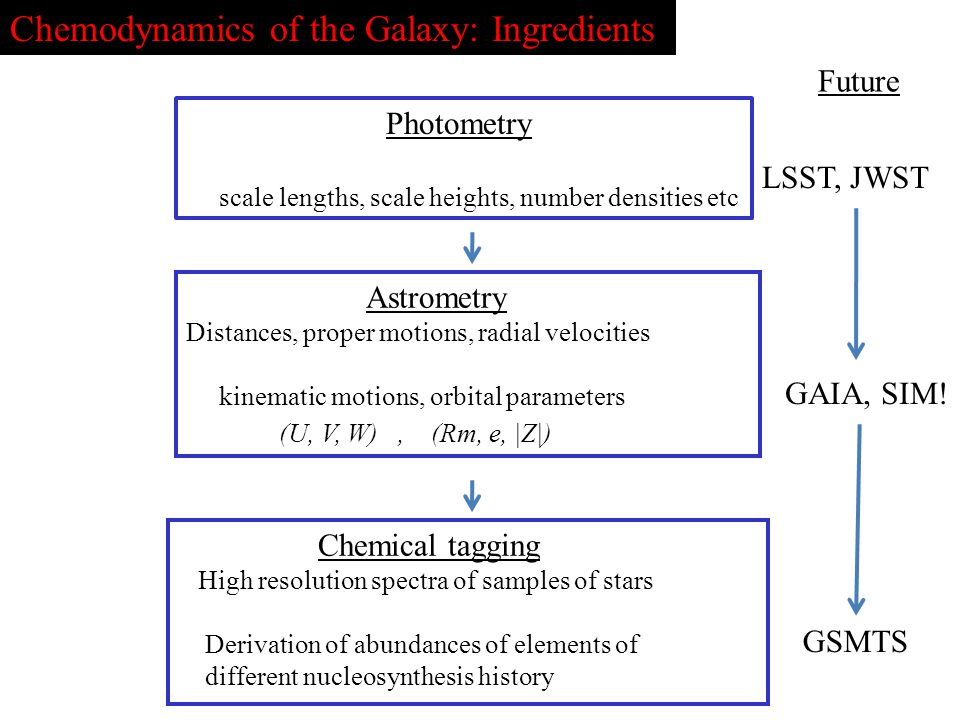 Chemodynamics of the Galaxy: Ingredients