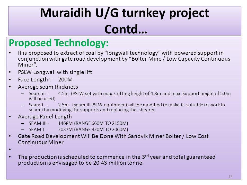 Muraidih U/G turnkey project Contd…