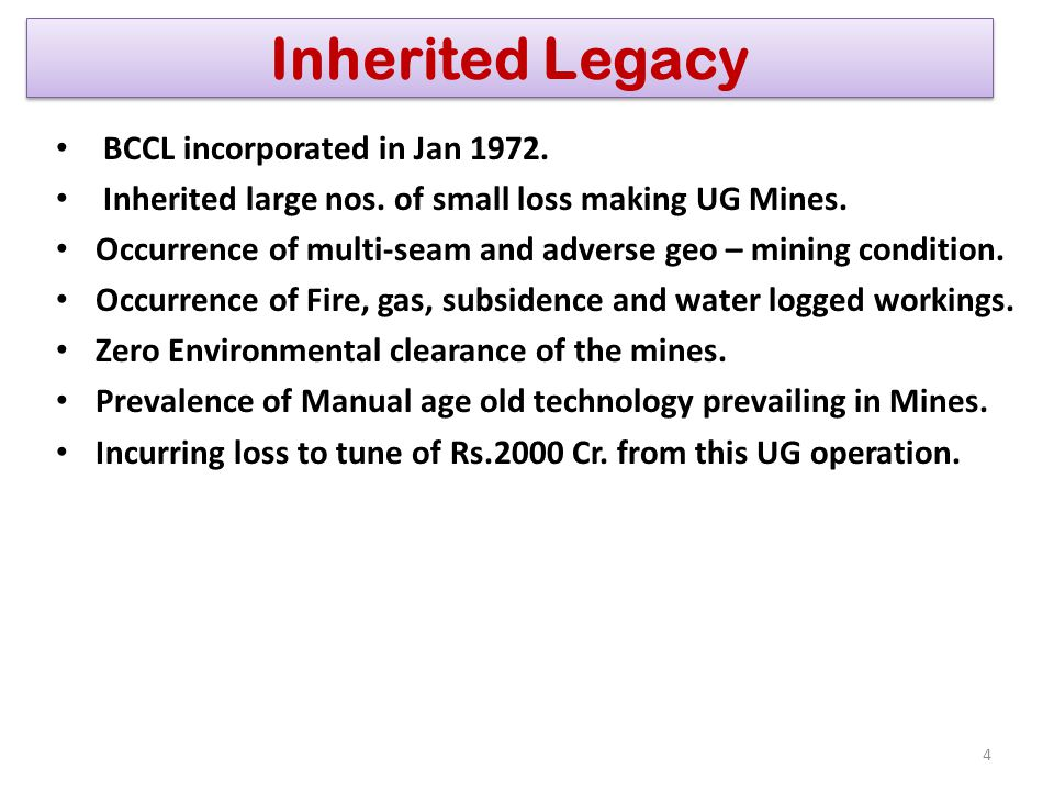 Inherited Legacy BCCL incorporated in Jan 1972.