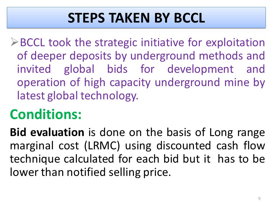STEPS TAKEN BY BCCL Conditions: