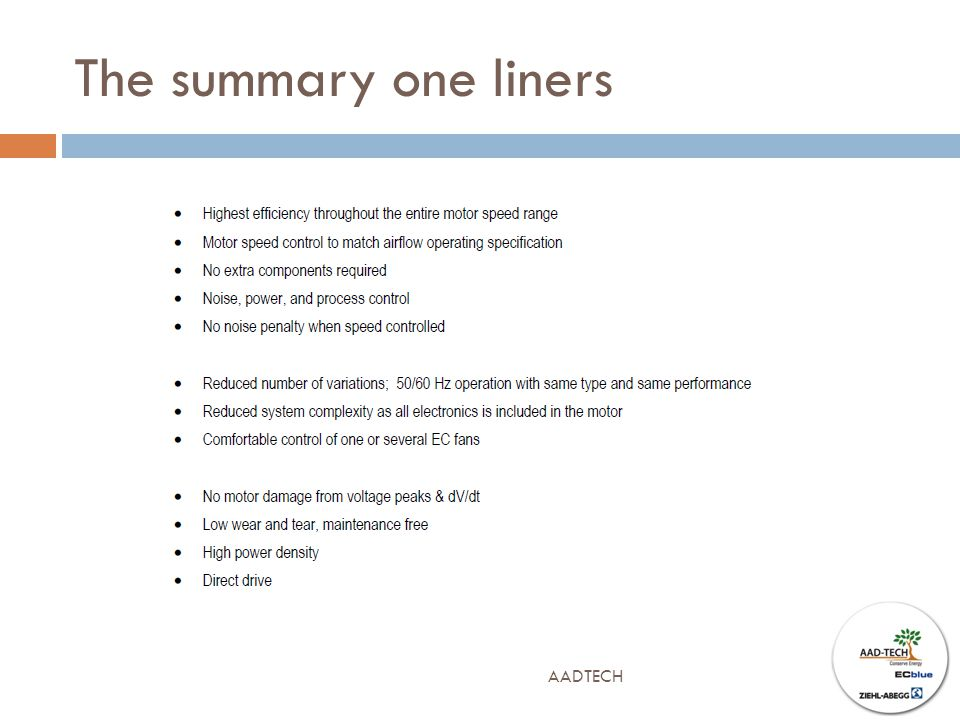 The summary one liners AADTECH
