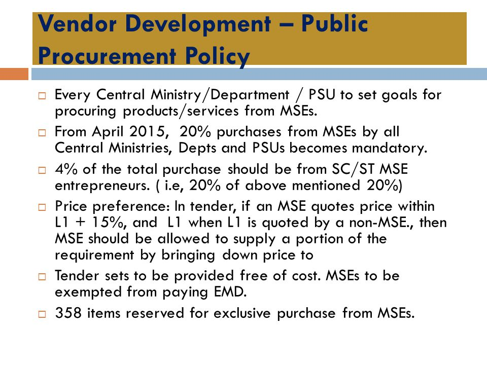 Vendor Development – Public Procurement Policy