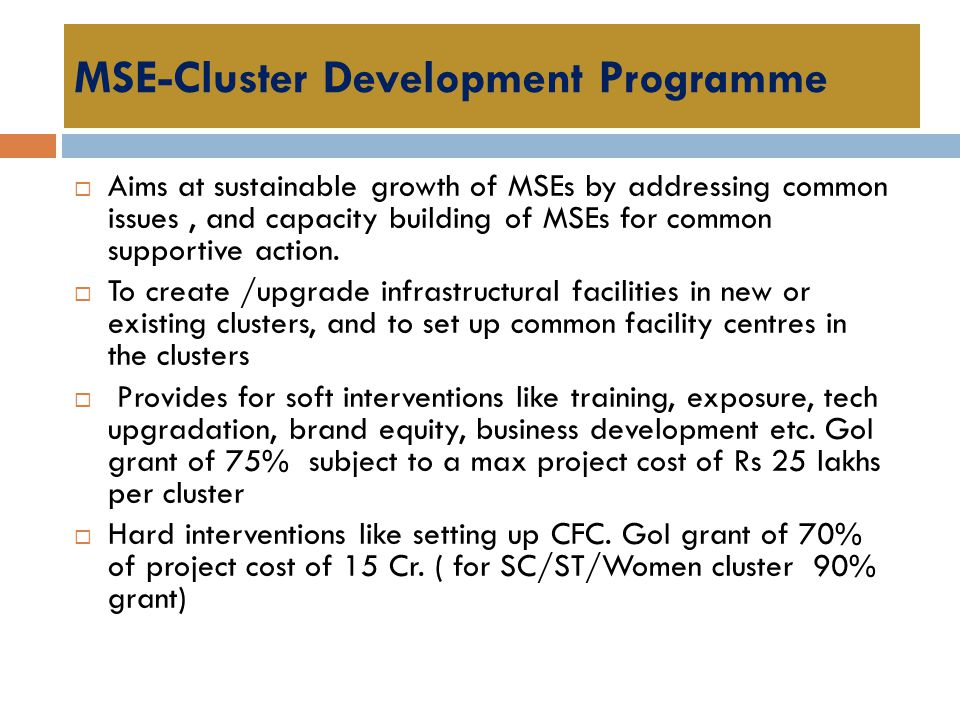 MSE-Cluster Development Programme