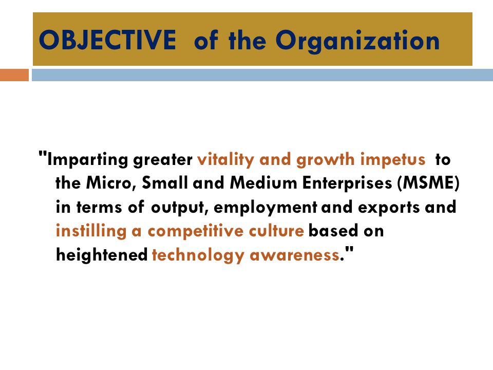 OBJECTIVE of the Organization