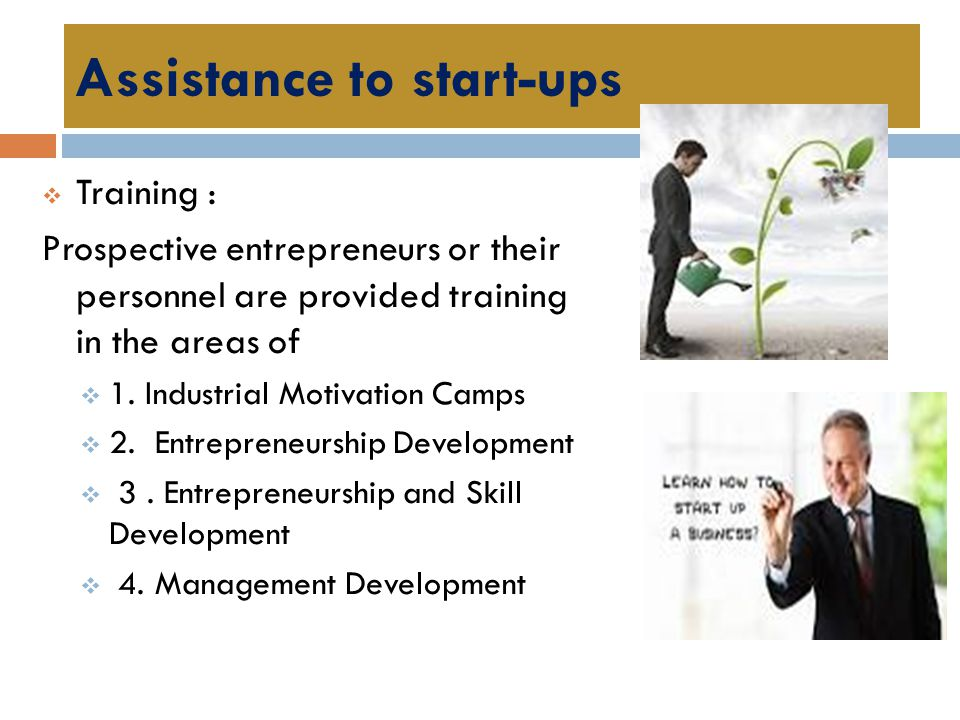 Assistance to start-ups
