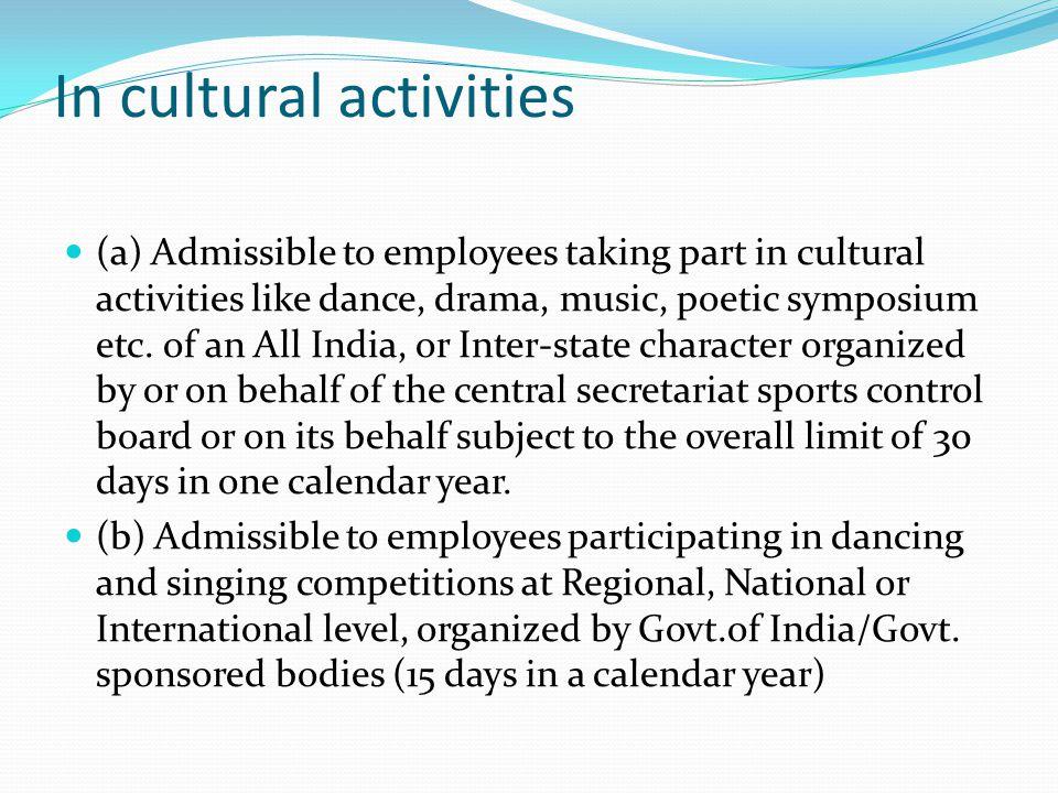 In cultural activities