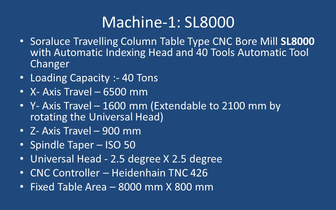 Machine-1: SL8000 Soraluce Travelling Column Table Type CNC Bore Mill SL8000 with Automatic Indexing Head and 40 Tools Automatic Tool Changer.