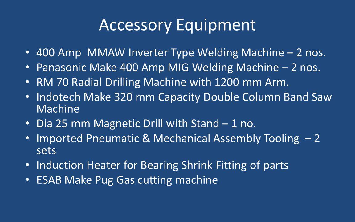 Accessory Equipment 400 Amp MMAW Inverter Type Welding Machine – 2 nos. Panasonic Make 400 Amp MIG Welding Machine – 2 nos.