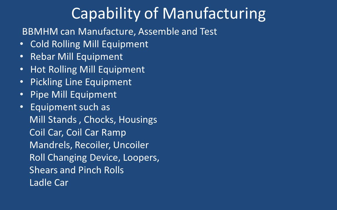 Capability of Manufacturing