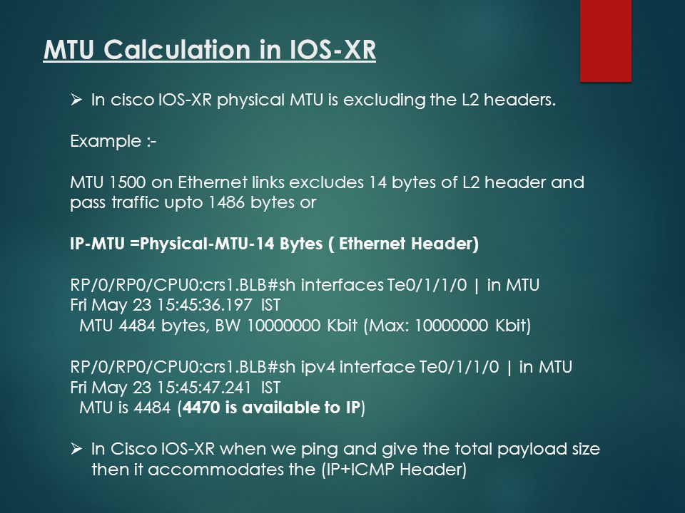 MTU Calculation in IOS-XR